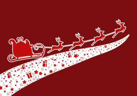 skid: Red Silhouette. Santa claus flying with reindeer sleigh. Cartoon Vector Illustration. Illustration