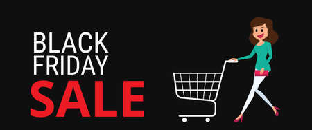 big woman: Black friday sale. Woman with shopping cart on Black Friday big sale the day before Christmas.  Cartoon Vector Illustration.