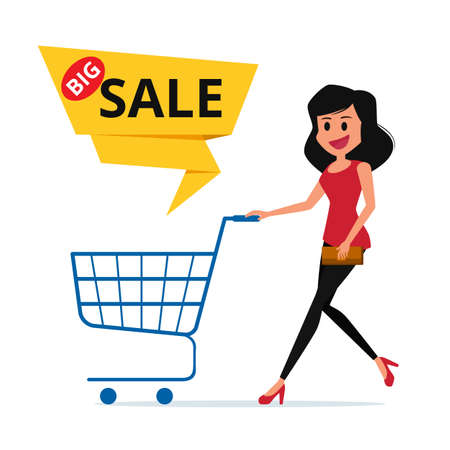big woman: Big sale. Woman shopping cart with big sale label.  Cartoon Vector Illustration.