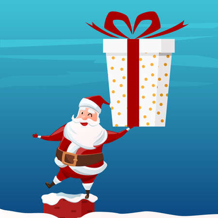 Merry Christmas. Santa Claus holding big gift box on chimney at the roof. Christmas and Happy New Year. Cartoon Vector Illlustration.