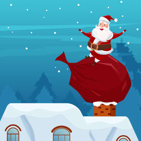 Merry Christmas. Santa Claus sitting on bag of gifts on chimney at the roof. Christmas and Happy New Year. Cartoon Vector Illustration