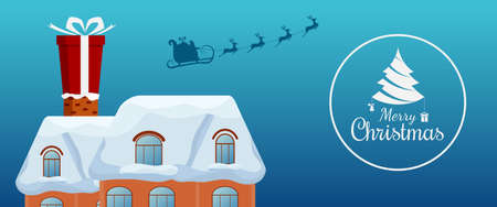 skid: Santa claus flying with reindeer sleigh and big gift box on chimney at the roof. Merry christmas and Happy new year. Cartoon Vector Illustration.
