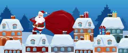 Merry Christmas. Santa Claus carries a bag of gifts on the roof. Christmas and Happy New Year. Cartoon Vector Illustration Illustration