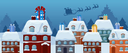 skid: Santa claus flying with reindeer sleigh and big gift box on the roof. Merry christmas and Happy new year. Cartoon Vector Illustration.