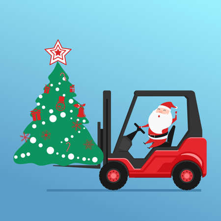 Cute santa claus drives forklift truck loading christmas tree and gift boxes. Cartoon Vector Illustration