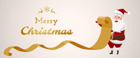 Merry Christmas. Santa Claus checking list old Paper.  Christmas banner Cartoon Vector Illustration.