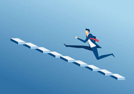 Businessman running up stair to success. Stair step to success. Staircase to success. Cartoon Vector Illustration. Illustration