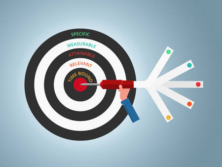 El establecimiento de metas. Objetivo inteligente. Concepto de negocio plantilla infográfica. Puede ser utilizado para la disposición del flujo de trabajo, la bandera, el diagrama, el diseño de la tela. Ilustración vectorial. Ilustración de vector