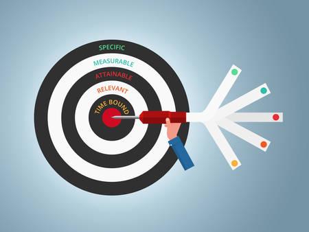 Paramétrage de l'objectif Objectif intelligent Modèle infographique de concept commercial. Peut être utilisé pour la mise en page de flux de travail, bannière, diagramme, conception de sites Web. Illustration vectorielle Vecteurs