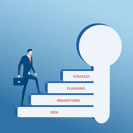 businessman walking: Businessman walking on key stair to success. Stair step to success concept. Cartoon Vector Illustration.