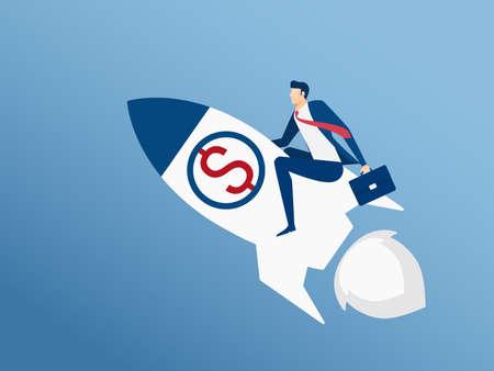 Homme d'affaires volant sur fusée démarre au succès. Voler au concept de réussite. Illustration de vecteur de dessin animé Banque d'images - 71192773