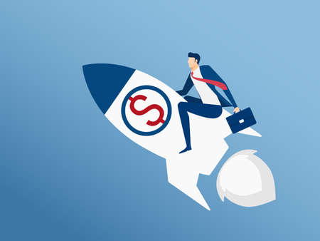 Businessman flying on rocket start up to success. Flying to success concept. Cartoon Vector Illustration.