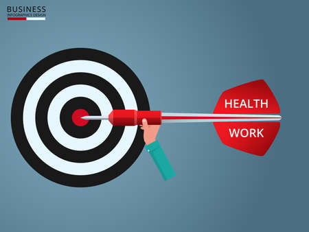 hand work: Goal setting. Hand holding dart with text  Health, Work to target. Concept of work and life balance. Cartoon vector Illustration. Illustration