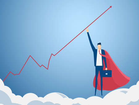 empujando: El hombre de negocios que señala el dedo para levantar gráfico de obtener una gran cantidad de dinero. crecimiento concepto gráfico éxito financiero. Ilustración vectorial de dibujos animados.
