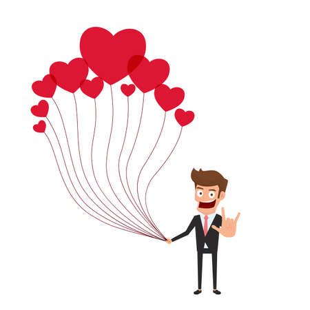 hand holding sign: Happy valentines day concept of love. Businessman holding a lot of heart balloon with love hand sign. Falling in love. Cartoon Vector Illustration. Illustration