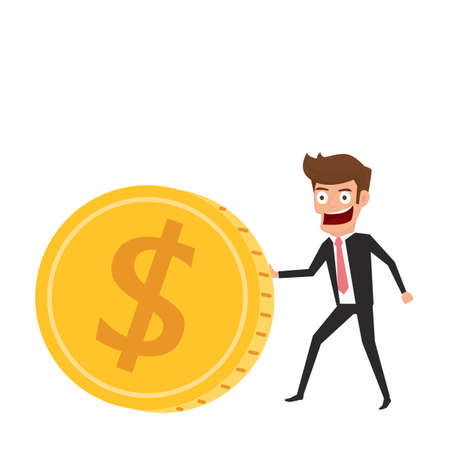 Investment and saving concept. Businessman rolls gold coin. Increasing capital and profits. Wealth and savings growing. Cartoon Vector Illustration.