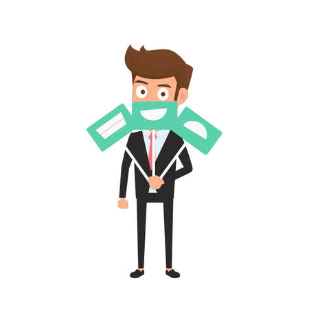 emotion faces: Businessman hiding real emotion behind smile face icons. Man chooses an emotional faces. Cartoon Vector Illustration.