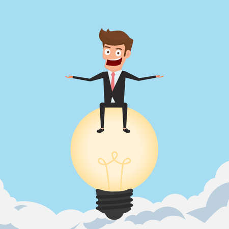 sucess: Big idea. Businessman flying with lightbulb idea looking for success, opportunities, future business trends. Concept of creative to sucess. Cartoon Vector Illustration.