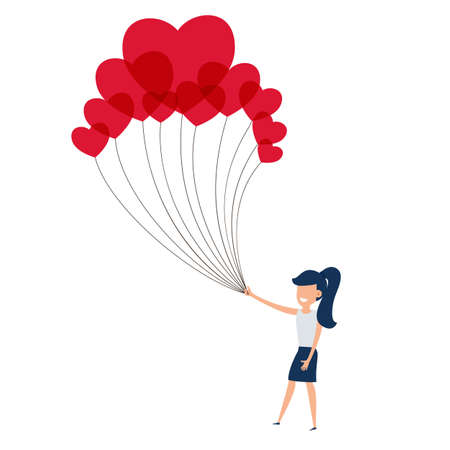 girl in love: Happy valentines day concept of love. Girl holding a lot of heart balloon. Falling in love. Cartoon Vector Illustration. Illustration