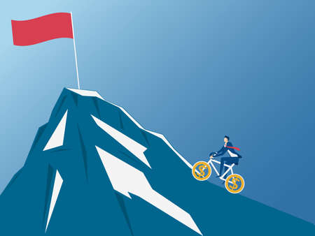 Man riding bicycle uphill and trying to reach top of mountain. Concept of riding to success. Cartoon Vector Illustration.