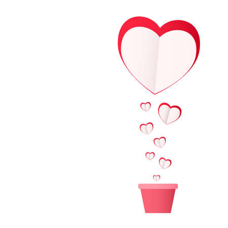 Happy valentines day concept of love. Pink paper hearts. Planted with love. Vector Illustration. Illustration