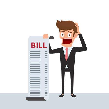 penniless: Businessman holding bills feels headache and worries about paying a lot of bills. Businessman no money. Debt concept. Cartoon Vector Illustration.