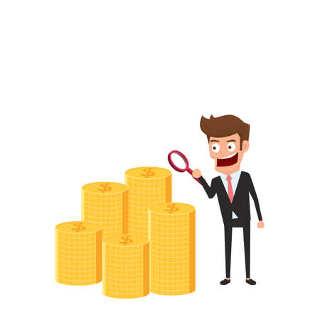 financial growth: Businessman looking through a magnifying glass to check money. business growth, investment, financial crisis concept. Cartoon Vector Illustration