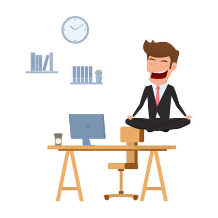 stress relief: Businessman meditating in peace over the office table. Time management, stress relief and problem solving concepts. Cartoon Vector Illustration. Illustration