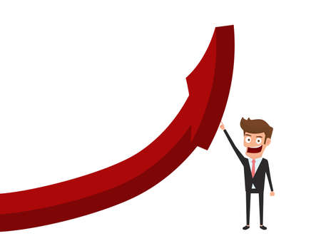 Businessman pointing finger to raise graph get a lot of money. Chart growth financial success concept. Cartoon Vector Illustration.