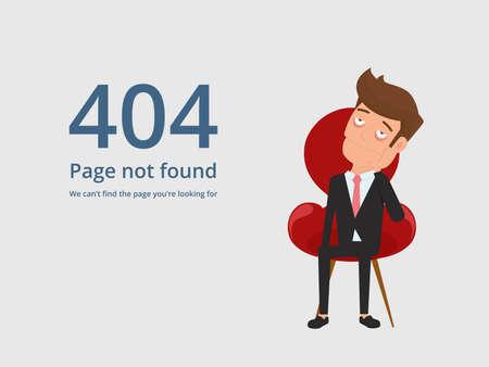 Page non trouvée erreur 404. Fatigué, ennuyé, homme d'affaires contrarié, assis sur une chaise et voyant l'erreur 404. Illustration de vecteur de dessin animé Banque d'images - 71669313