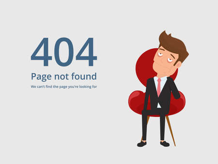 Page not found error 404. Tired bored upset businessman sitting on chair and seeing 404 error. Cartoon Vector Illustration.