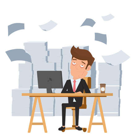 Tired businessman sitting at office desk and pile of paper work. Tired employee and want to help. Deadline concept. Cartoon Vector Illustration.