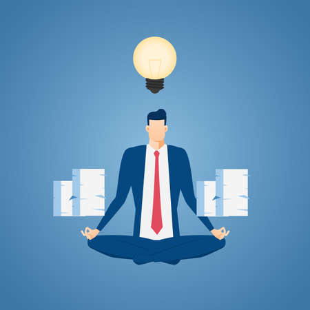 stress relief: Businessman meditating in peace at the office. Time management, stress relief and problem solving concepts. Cartoon Vector Illustration.