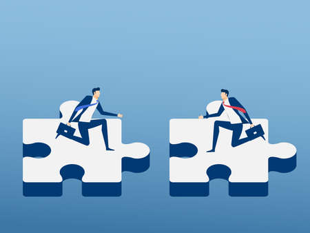 business agreement: Business people assembling jigsaw puzzle reaching an agreement. Teamwork partnership and cooperate concept. Cartoon Vector Illustration.