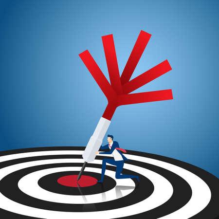 advancement: Success target concept. Businessman holding dart hitting the center success target. Cartoon Vector Illustration.