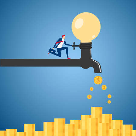 Businessman turning on the faucet light bulb idea process to be money. Passive income concept. Cartoon Vector Illustration.