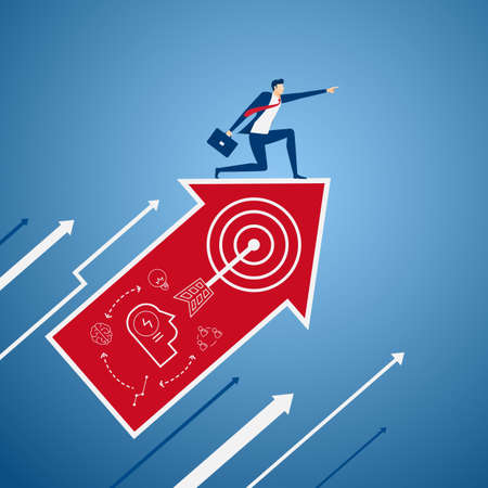 vision concept: Businessman on growth arrow graph with icons pointing finger and looking for success, opportunities, future business trends. Vision concept. Cartoon Vector illustration. Illustration