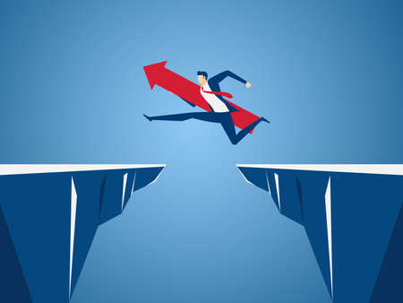 Businessman with red arrow sign jump through the gap between hill. Running and jump over cliffs. Business risk and success concept. Cartoon Vector Illustration. Stock Illustratie