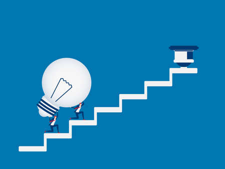 Business team carrying light bulb idea on stairs to target and success point. Stairs step to success. Cartoon Vector Illustration.