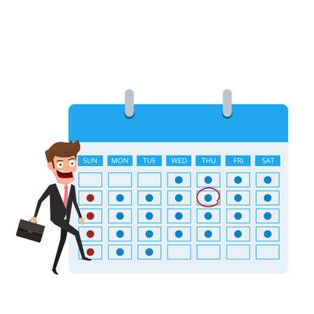 gestión del tiempo y concepto de planificación . hombre de negocios con la marca de verificación de la información y la programación en la ilustración vectorial de dibujos animados .
