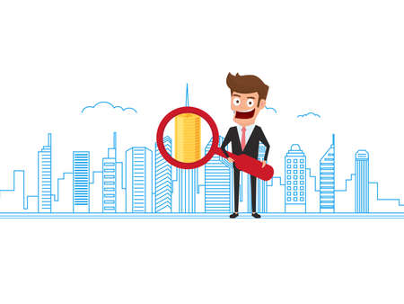 Real estate property value concept. Businessman holding Magnifier looking for money on real estate property. Money profit from real estate. Cartoon Vector Illustration.