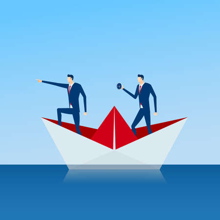 Business team on paper ship looking for success, opportunities, future business trends. Illustration