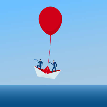 The Boat rises above with the red balloon. Business advantage opportunities and success concept.