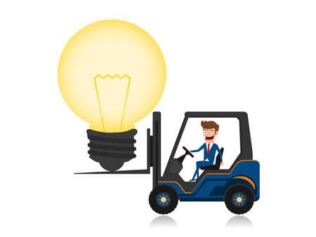loaded: Businessman driving forklift loaded with big light bulb idea. Creative idea concept.
