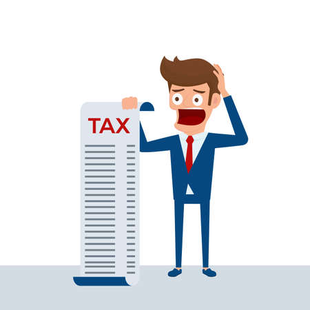 penniless: Businessman holding document tax feels headache and worries about paying a lot of taxes.