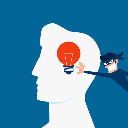 steal brain: Flat design Piracy concept. Thief stealing light bulb idea from a head. Cartoon Vector Illustration.