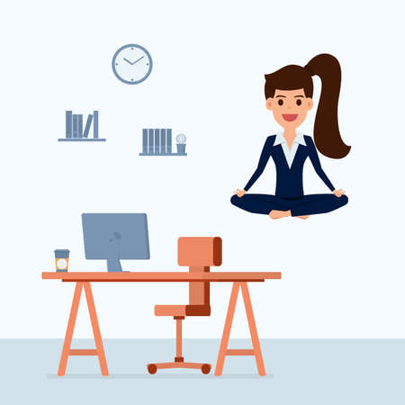 Business woman meditating in peace over the office table. Time management, stress relief and problem solving concepts. Cartoon Vector Illustration. Illustration