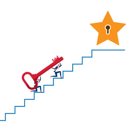 Business team carrying The Key on stair to target and success point. Stairs step to success.