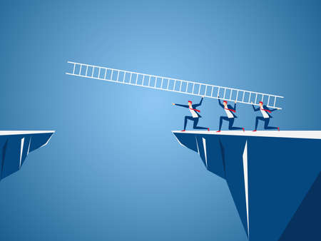 Business-Team mit Leiter zu durchqueren die Lücke zwischen Hügel. Business Teamwork, Risiko und Erfolgskonzept.