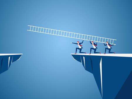 Business team using ladder to cross through the gap between hill. Business Teamwork ,risk and success concept.